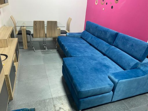 sofa chaiselongue azul tienda muebles