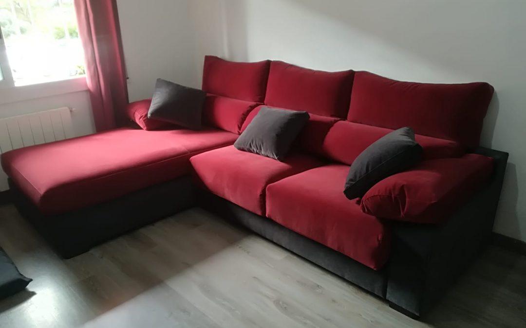 Sofà chaiselongue raconera combinació 2 colors