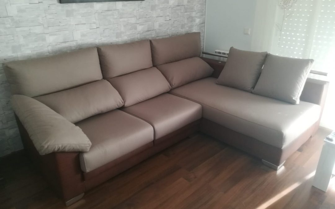 Sofá a medida chaiselongue 2 tonos marrón