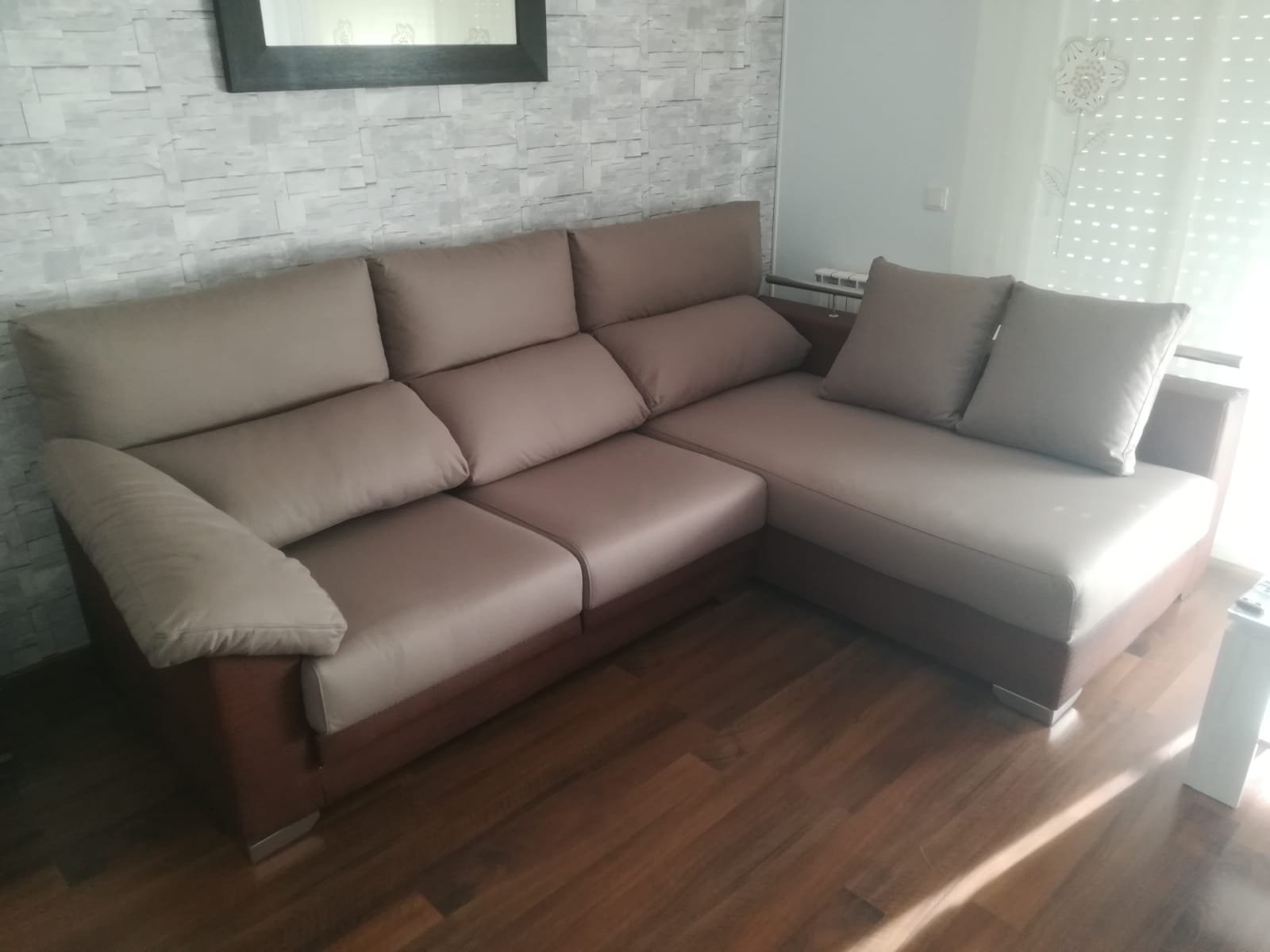 sofa medida rinconero 2 tonos marrones